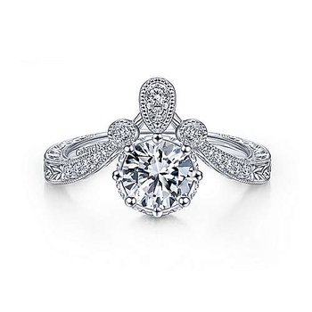 Vintage Inspired White Gold Round Curved Diamond Semi Mounting
