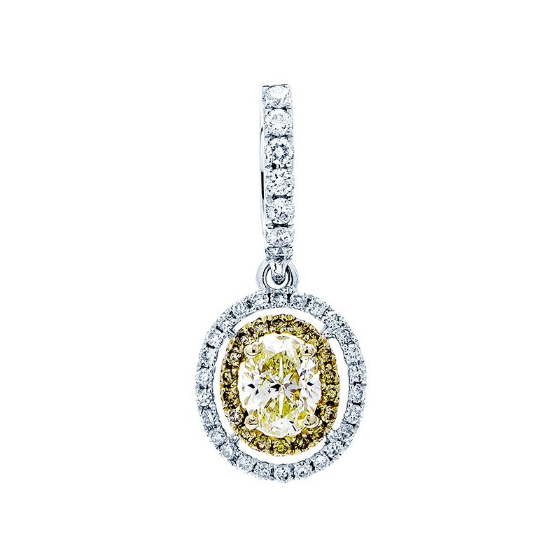 Lauray's Signature Collection White Gold Yellow Diamond Pendant
