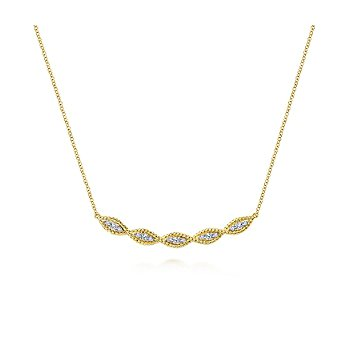 Twisted Rope Curved Diamond Bar Necklace