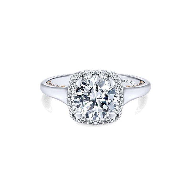 Gabriel Catalog White-Rose Gold Round Halo Diamond Semi Mounting