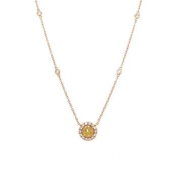 Rose Gold Yellow Diamond Slice Necklace