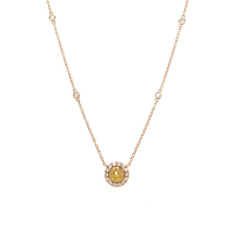 Lauray's Signature Collection Rose Gold Yellow Diamond Slice Necklace