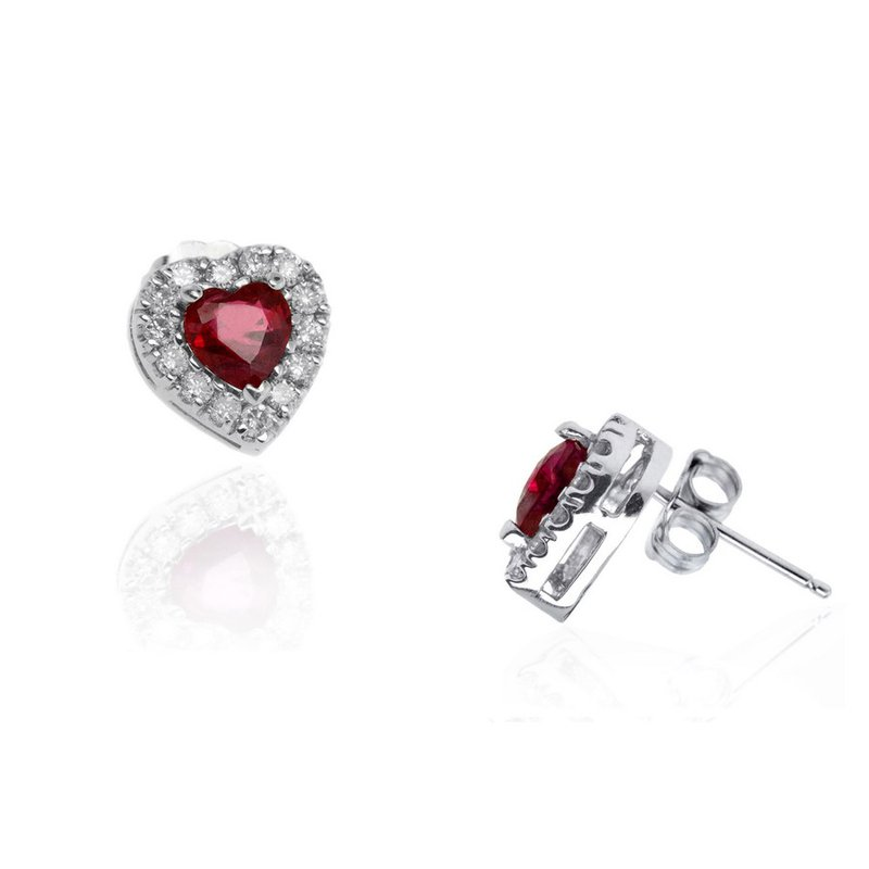 Lauray's Signature Collection White Gold Heart Shaped Ruby and Diamond Stud Earrings