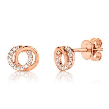 Rose Gold Diamond Love Knot Circle Earrings