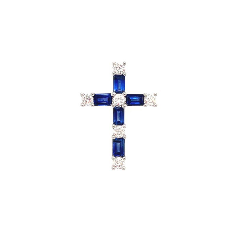 Lauray's Signature Collection White Gold Blue Sapphire and Diamond Cross Pendant