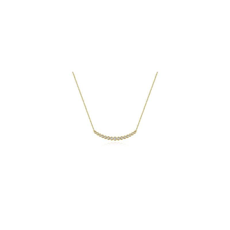 Gabriel Catalog Curved Bar Necklace with Bezel Set Round Diamonds
