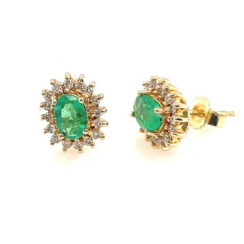 Yellow Gold Emerald and Diamond Stud Earrings