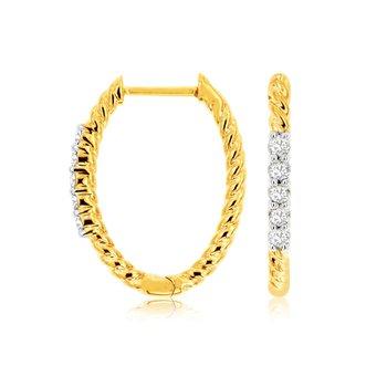 Yellow Gold Diamond Rope Hoop Earrings