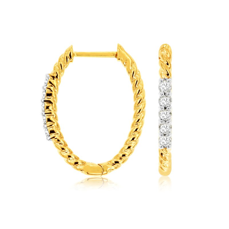 Lauray's Signature Collection Yellow Gold Diamond Rope Hoop Earrings