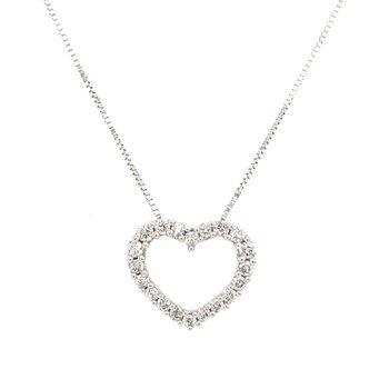 White Gold Diamond Heart Necklace