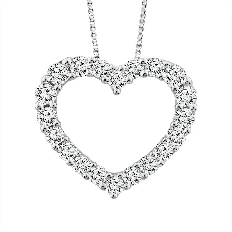 Lauray's Signature Collection White Gold Diamond Heart Necklace