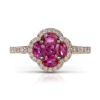 Rose Gold Ruby and Diamond Ring
