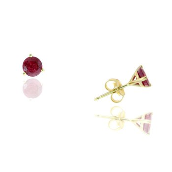 Yellow Gold Ruby Stud Earrings