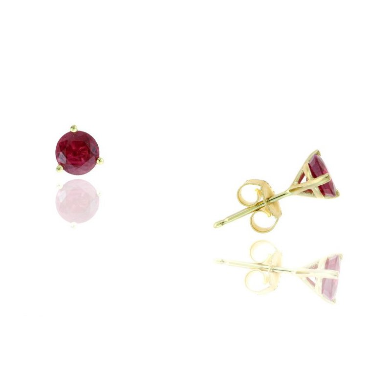 Lauray's Signature Collection Yellow Gold Ruby Stud Earrings