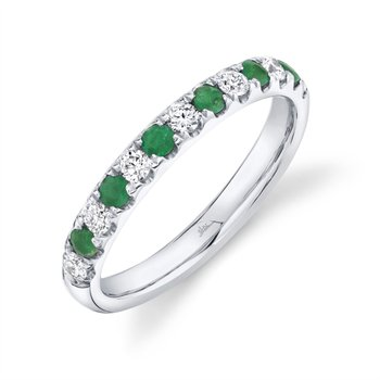 White Gold Diamond and Emerald Band