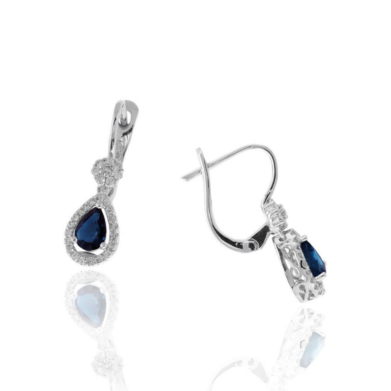 Lauray's Signature Collection White Gold Sapphire and Diamond Earrings
