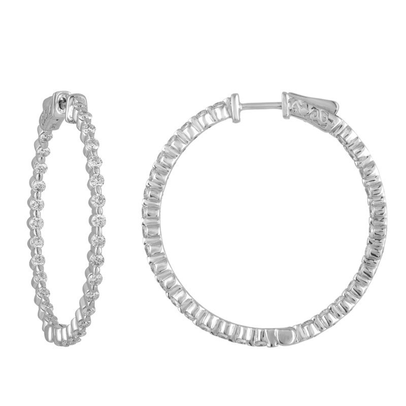 Lauray's Signature Collection White Gold Diamond Hoops