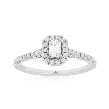 White Gold Emerald Cut Diamond Halo Engagement Ring