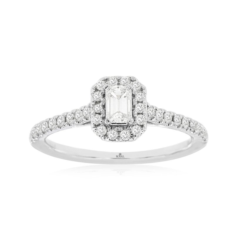 Lauray's Signature Collection White Gold Emerald Cut Diamond Halo Engagement Ring