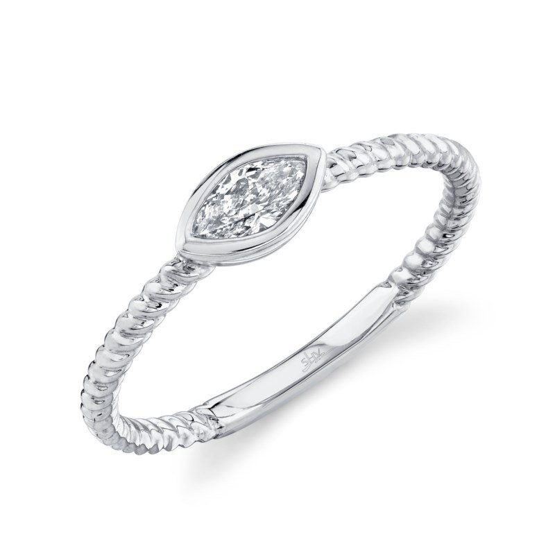 Shy Creation White Gold Marquise Bezel Set Ring