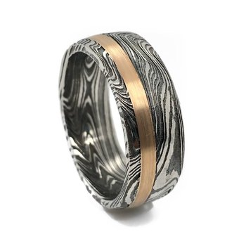 Damascus Rose Gold Band