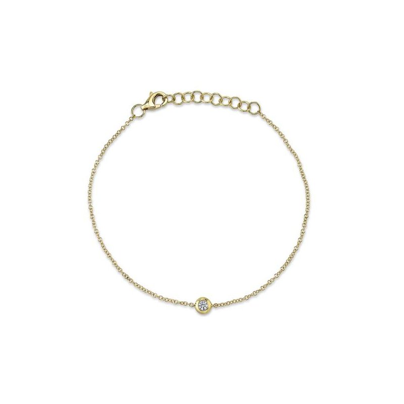 Shy Creation Yellow Gold Diamond Bezel Bracelet