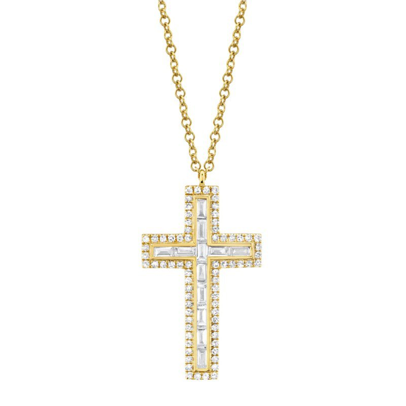Shy Creation Yellow Gold Baguette Diamond Cross Necklace