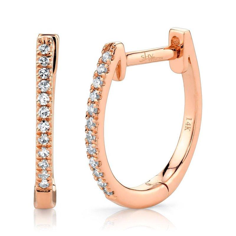 Shy Creation Rose Gold Diamond Huggie Earrings