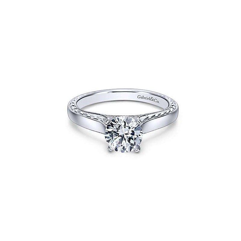 Gabriel & Co White Gold Round Diamond Semi Mounting