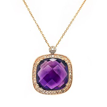 Rose Gold Diamond and Amethyst Necklace