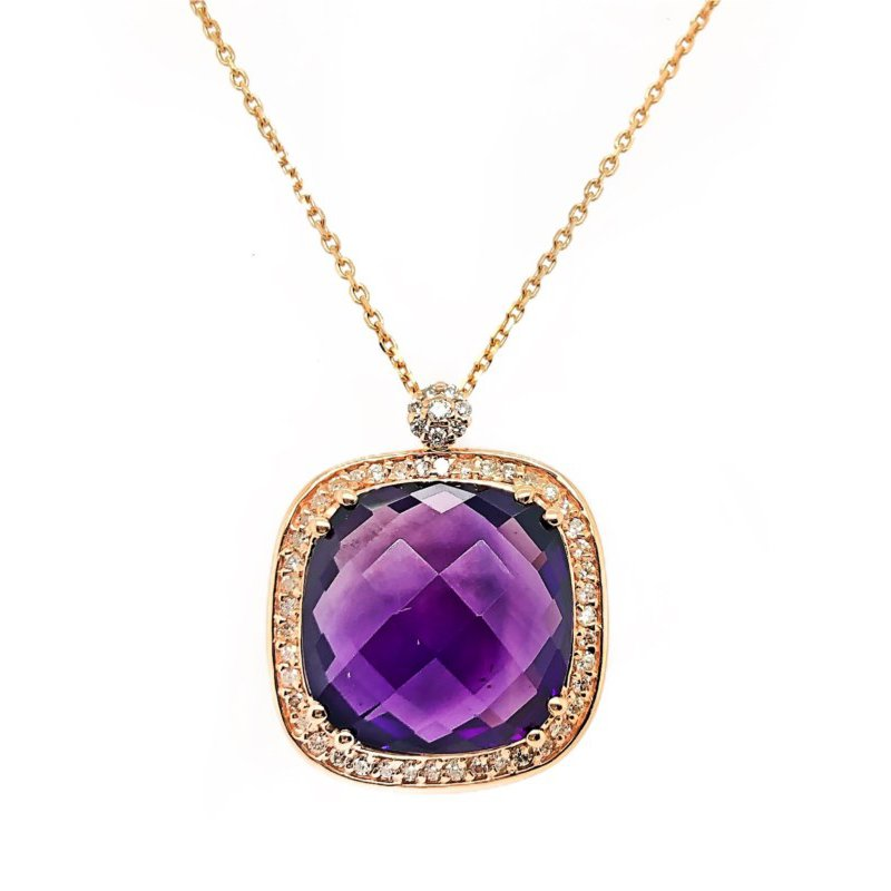 Lauray's Signature Collection Rose Gold Diamond and Amethyst Necklace