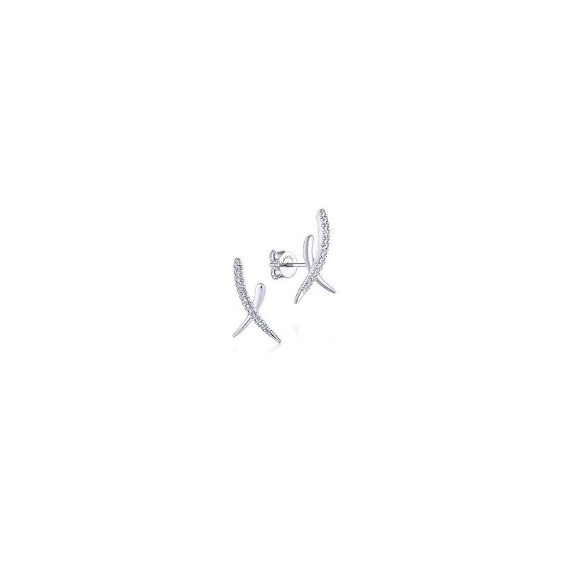 Gabriel & Co Diamond X Stud Earrings