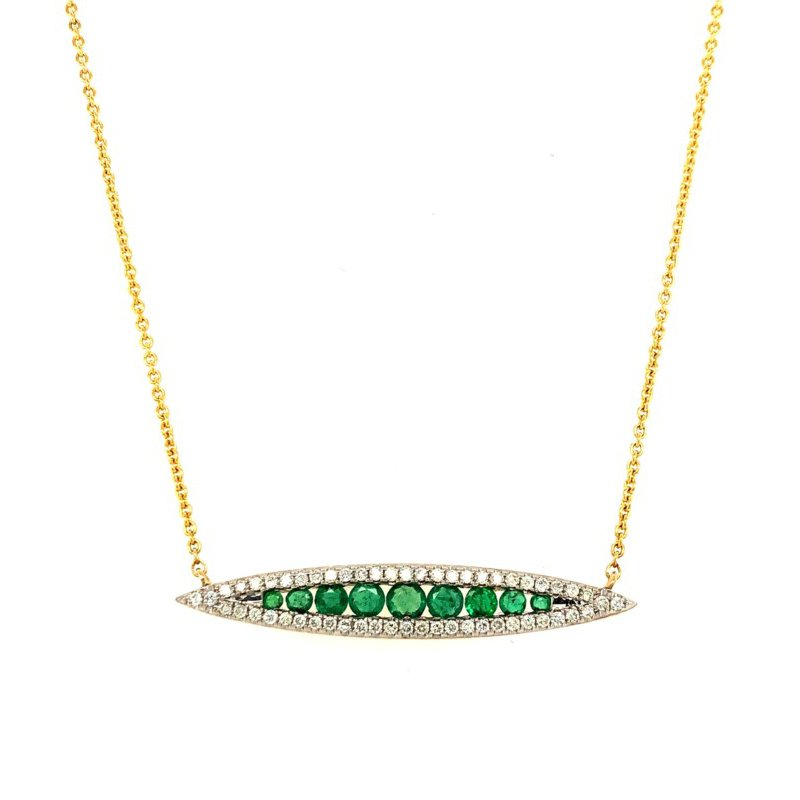 Lauray's Signature Collection Emerald Diamond Necklace