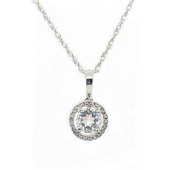 April Birthstone White Topaz Necklace