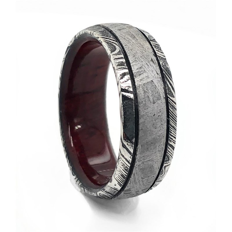 Lauray's Signature Collection Damascus Meteorite Woodgrain Band