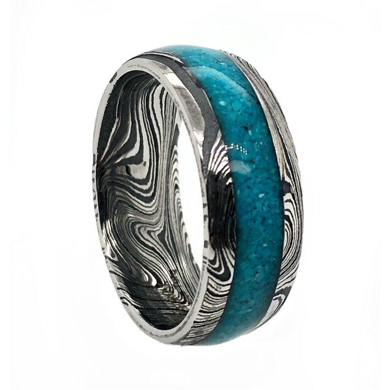 Lauray's Signature Collection Damascus Marble/Mosaic Acid finish Inlay:Turq
