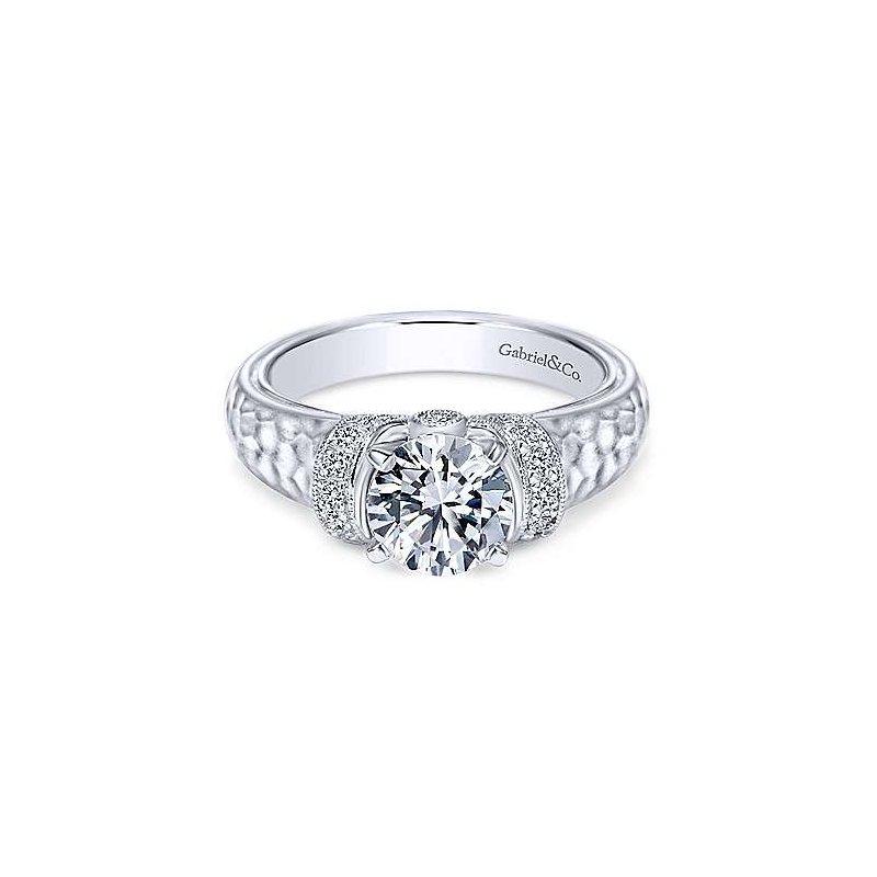 Gabriel & Co White Gold Round Wide Band Diamond Semi Mounting