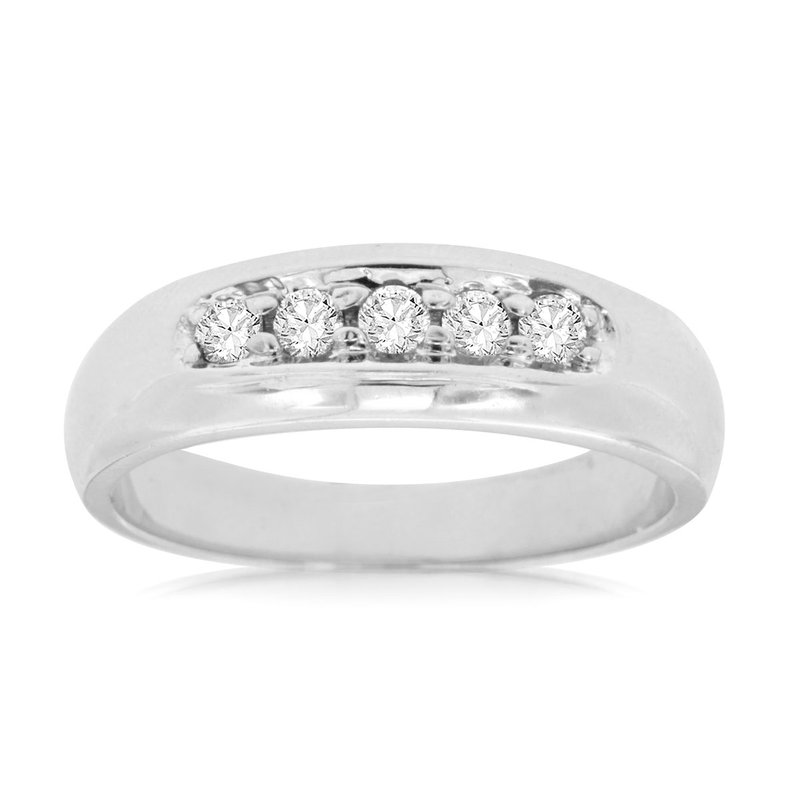 Lauray's Signature Collection Men's White Gold Diamond Wedding Band