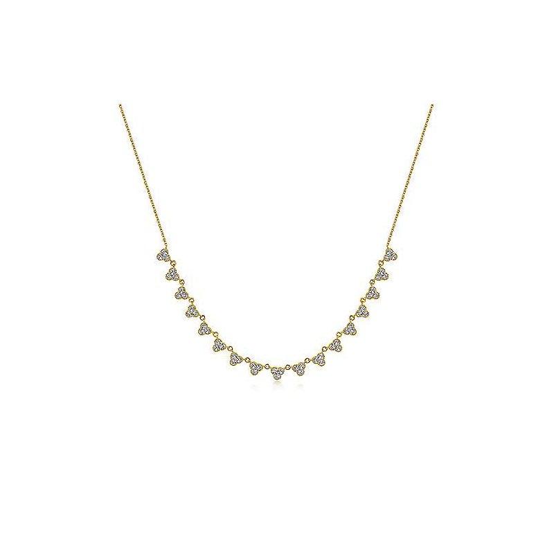 Gabriel Catalog Yellow Gold Scalloped Diamond Choker Necklace