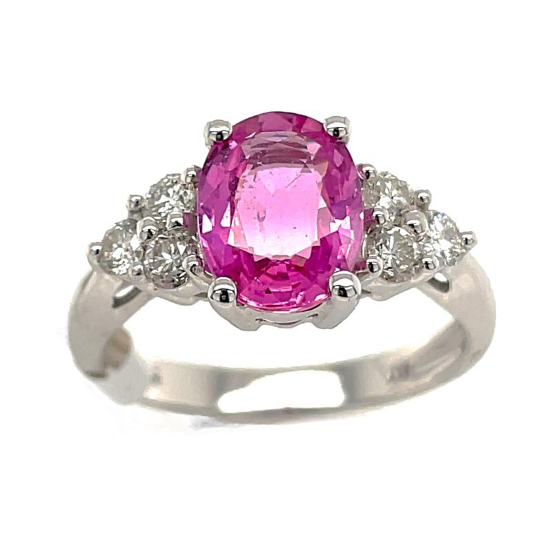 Lauray's Signature Collection White Gold Pink Sapphire and Diamond Ring