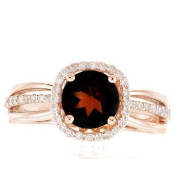 Rose Gold Garnet and Diamond Ring