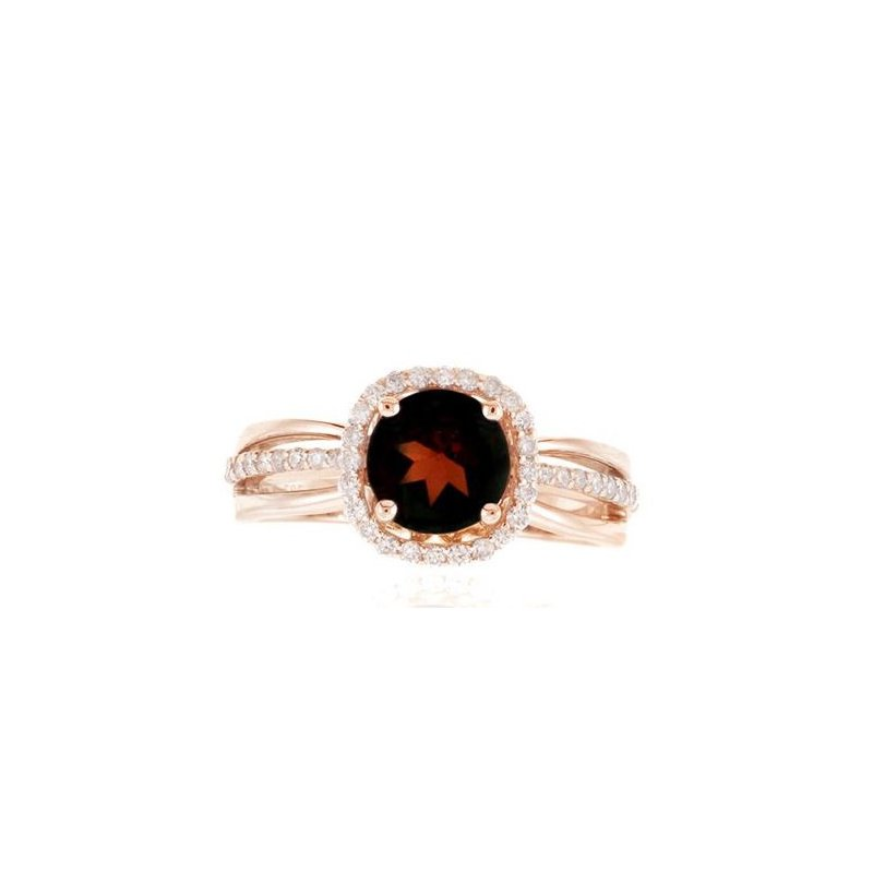 Lauray's Signature Collection Rose Gold Garnet and Diamond Ring