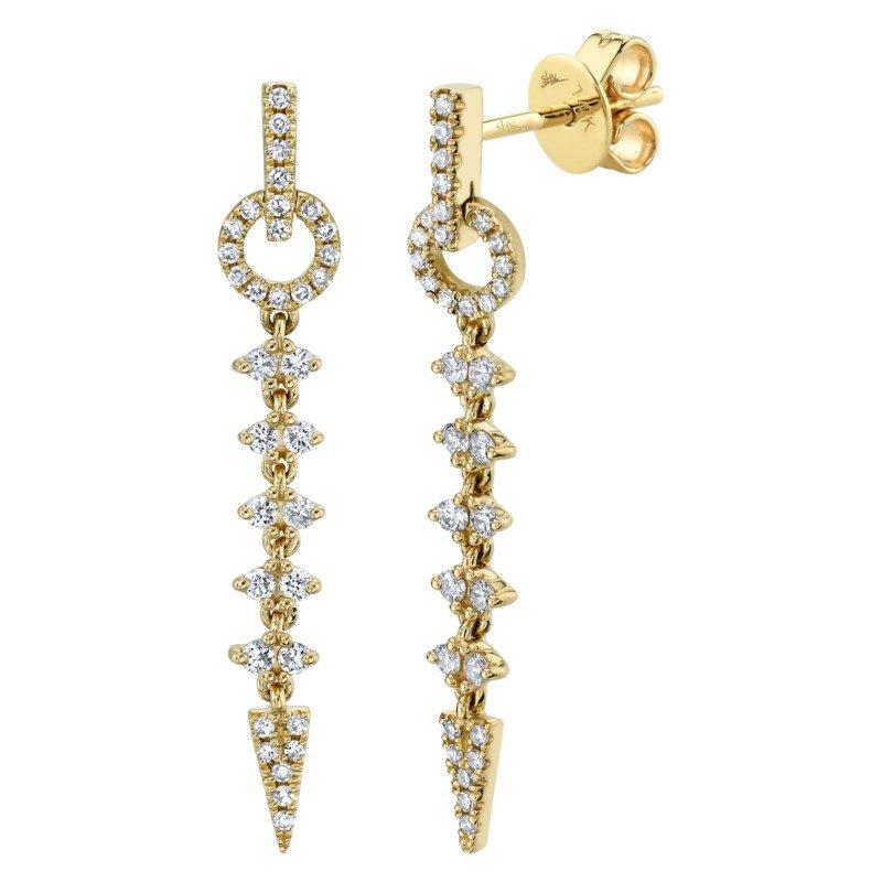 Shy Creation Yellow Gold Diamond Earrings