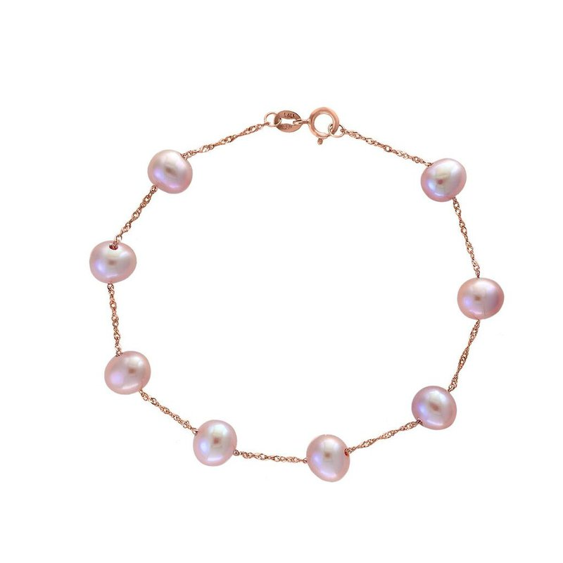 Lauray's Signature Collection Rose Gold Pink Fresh Water Pearl Bracelet