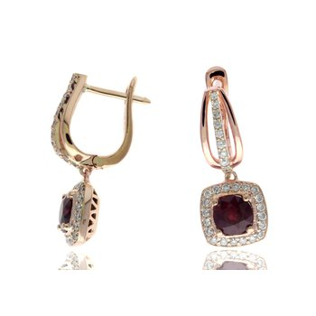 Rose Gold Ruby and Diamond Earrings