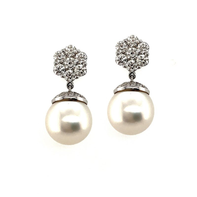 Lauray's Signature Collection White Gold Pearl and Diamond Earrings