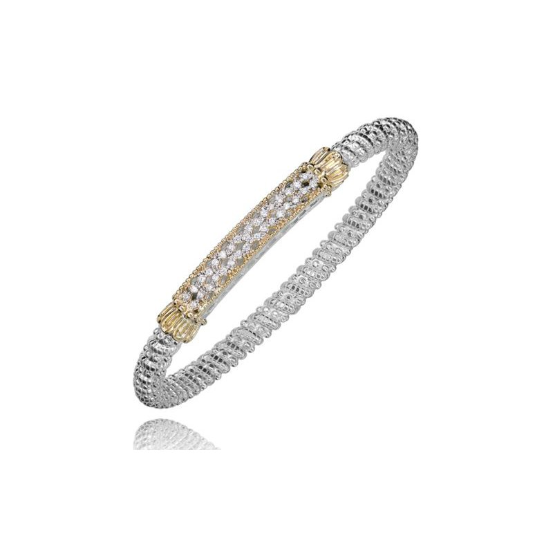 Alwand Vahan Yellow Gold and Sterling Silver Diamond Bangle Bracelet