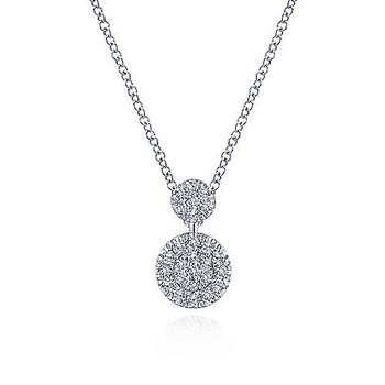 White Gold Double Diamond Disc Pendant Necklace