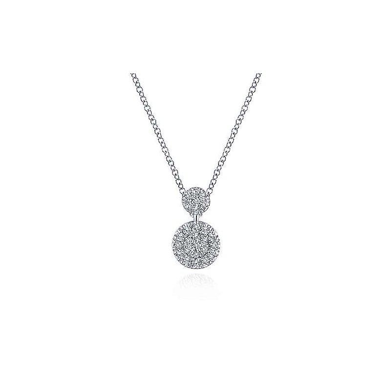 Gabriel Catalog White Gold Double Diamond Disc Pendant Necklace