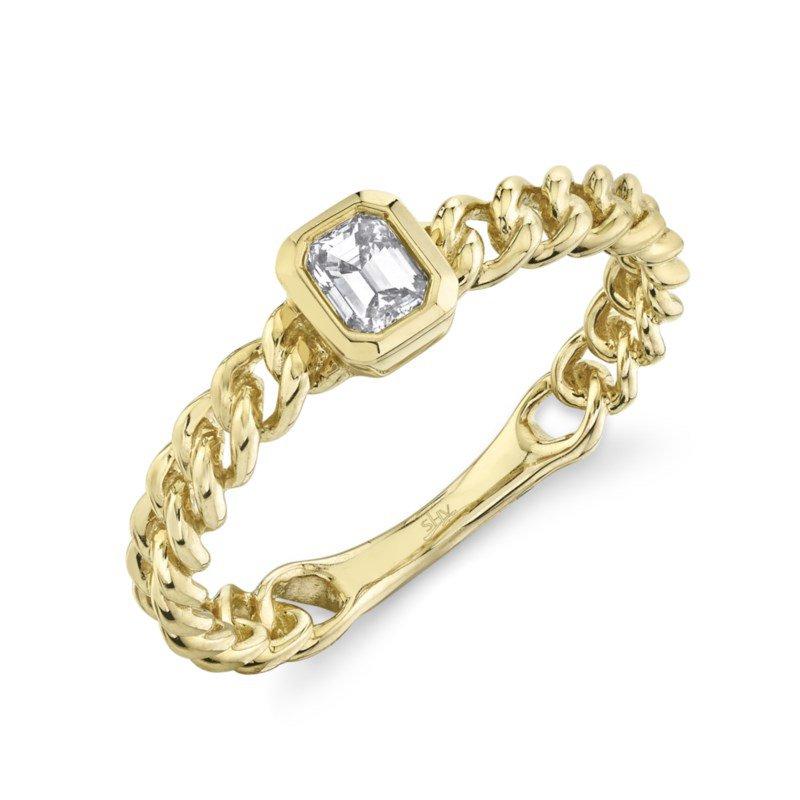 Shy Creation Yellow Gold Emerald Cut Bezel Set Ring